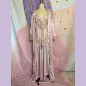 VTG 70s Lilac Purple Lace Slip Dress Peignoir Set